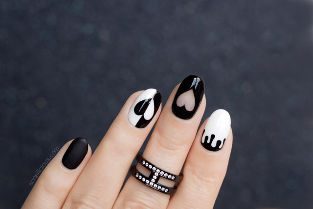 black valentines day nail design
