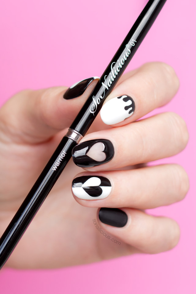 black valentines day nails, sonailicious nail art brush
