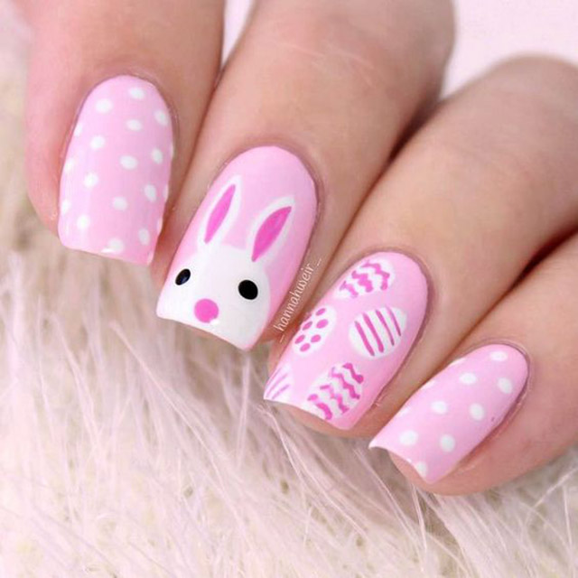 Pink Bunny nails by @HannahWeir