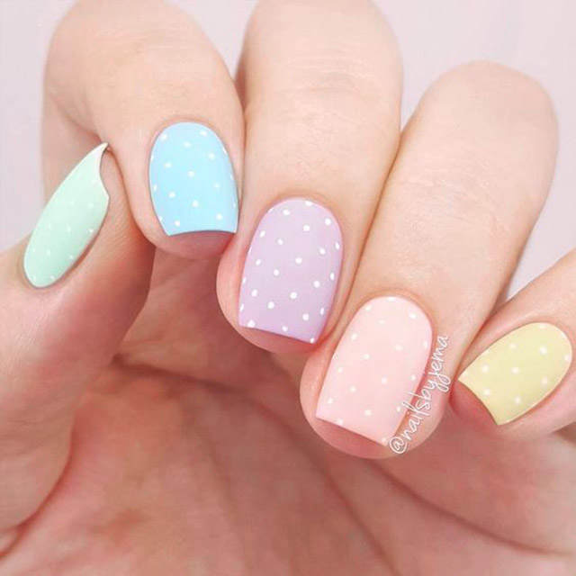Polka Dot Easter nail art by @nailsbyjema