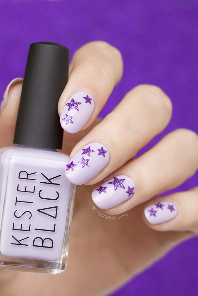 Purple nails with stars