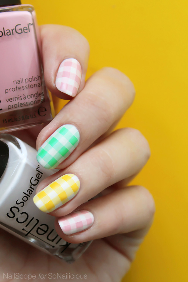 Easter Gingham Pastel Nails How To