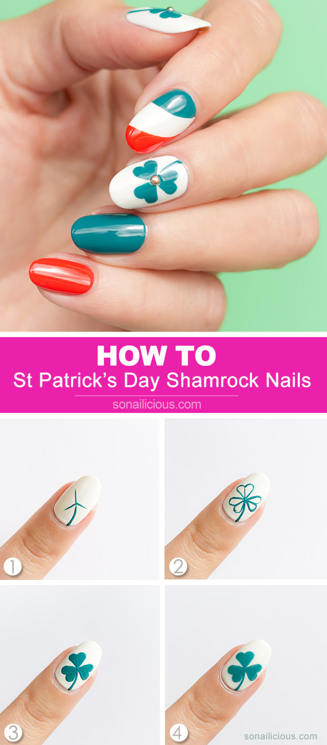 st patricks day shamrock nails how to, 1