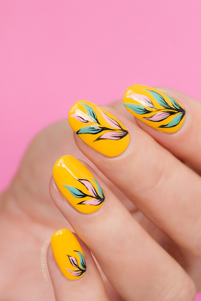 yellow nail design, floral nails