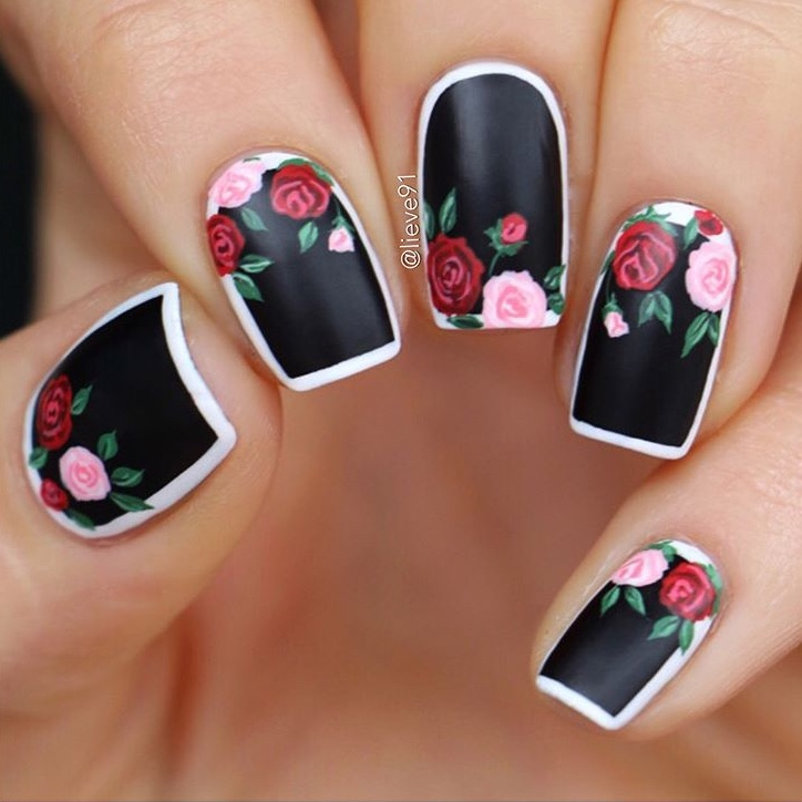 Black and Red Floral nail art by @lieve91