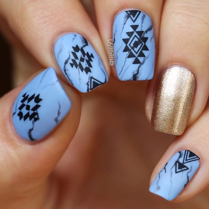 Blue marble nails with SoNailicious nail stickers