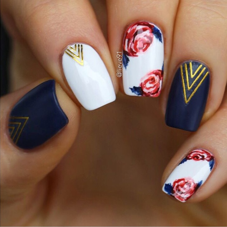 Floral nail design with Chevron nail stickers