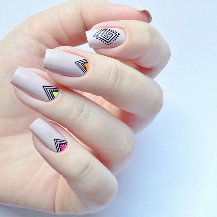 nude nails with boho stickers