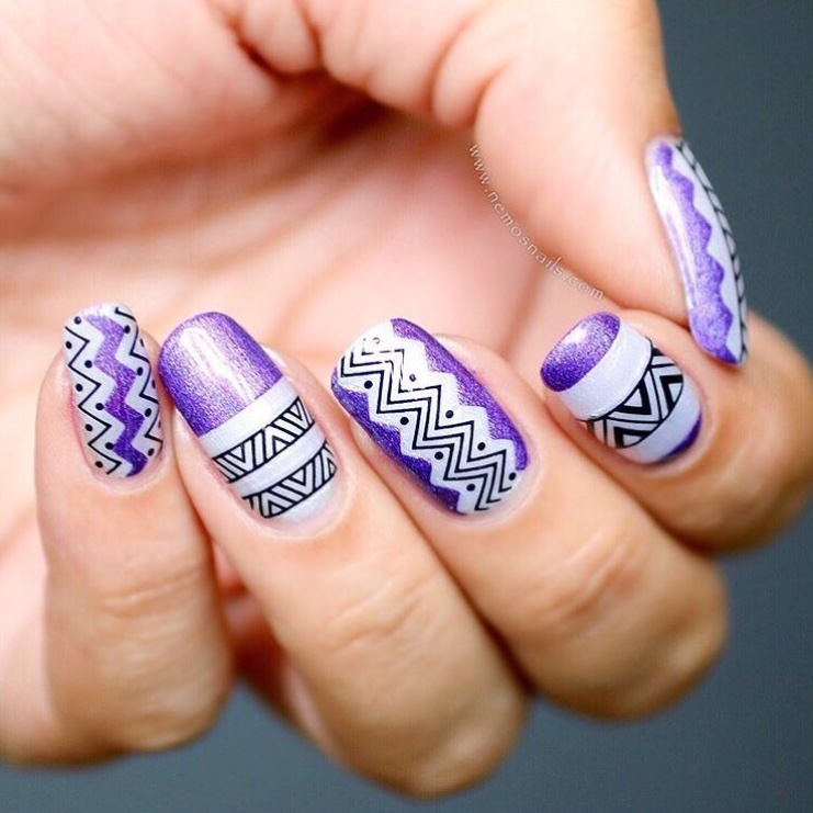Purple nail design with SoNailicious nail stickers