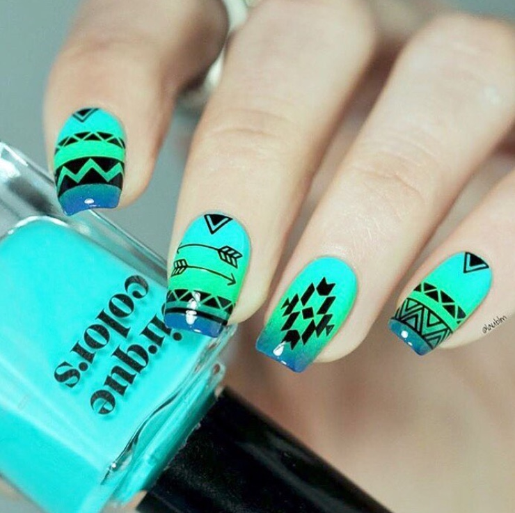 Summer nails with Aztec stickers
