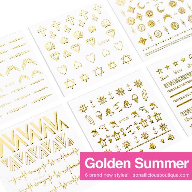 golden summer nail stickers