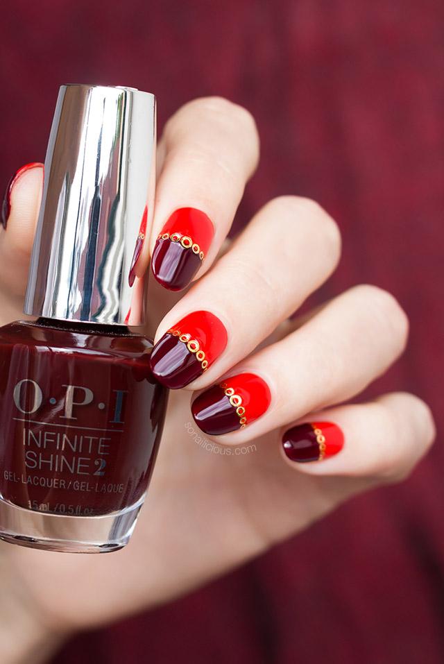 red nail design with opi nail polish