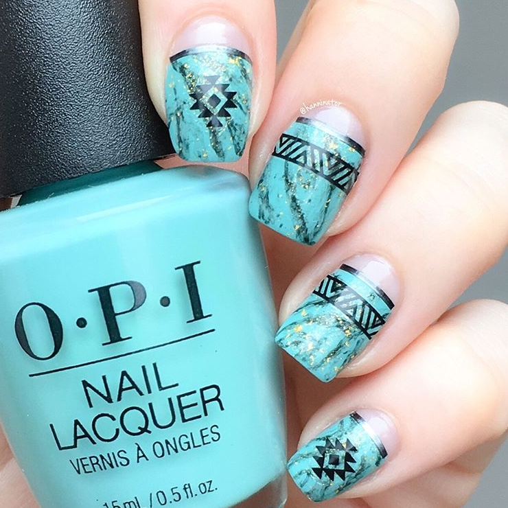 turquoise nail art with SoNailicious nail stickers