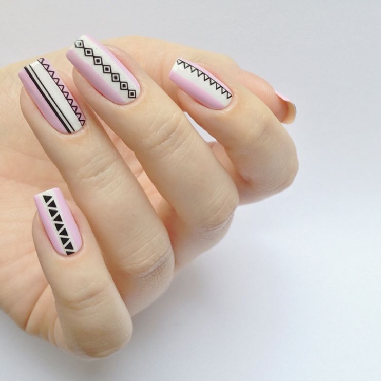 Pink and white summer nails with nail stickers