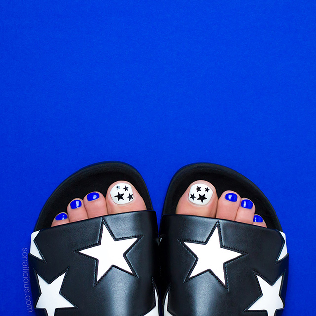 perfect pedicure in stella mccartney slides
