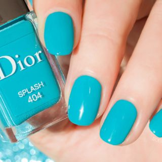 turquoise nail art with dior splash
