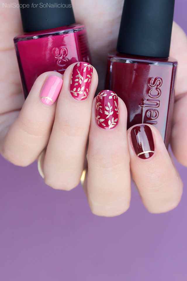autumn nail art with kinetics polish