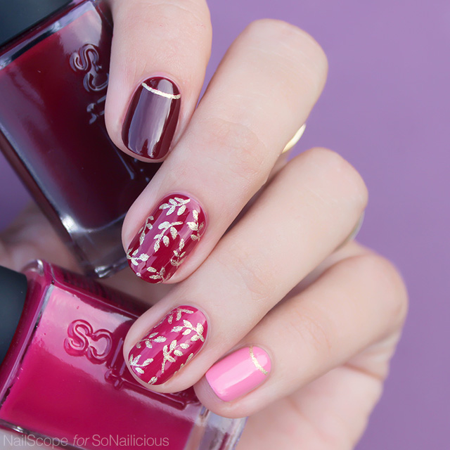 red and gold autumn nails with kinetics nail polish