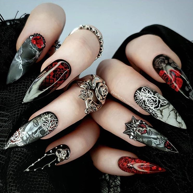 Vampire Bride Halloween nail design