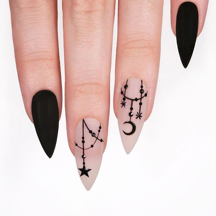 Witch Halloween nail art