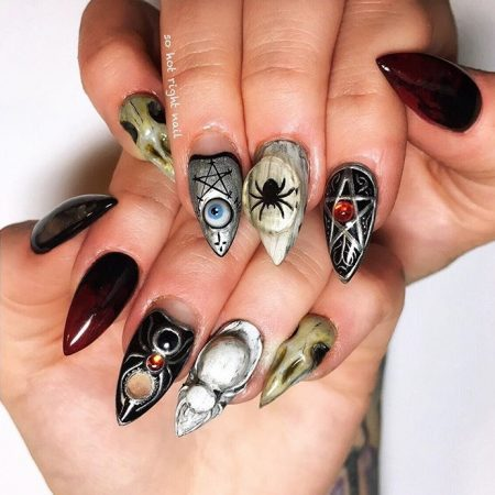 Witchy Halloween nail art