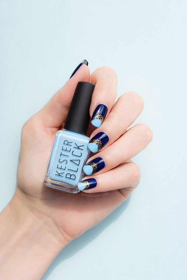 blue and gold nails kester black cumulus