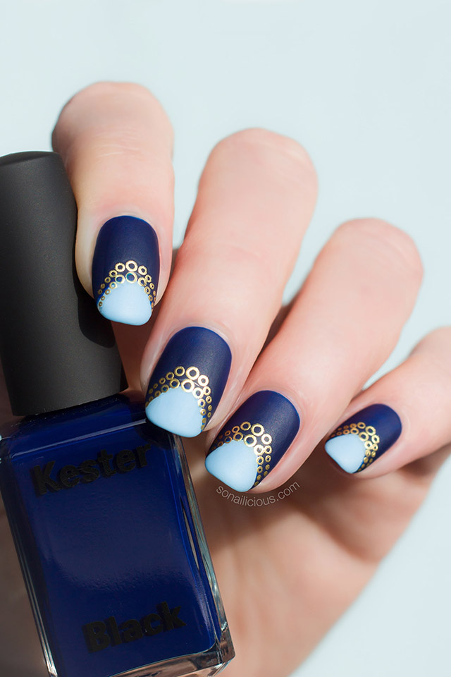 blue and gold nails with kester black bleu