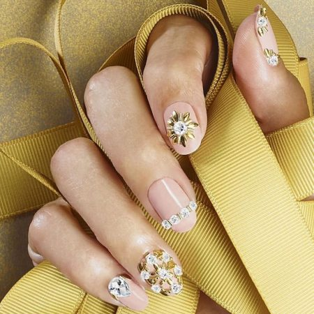 New years nails with rhinestones