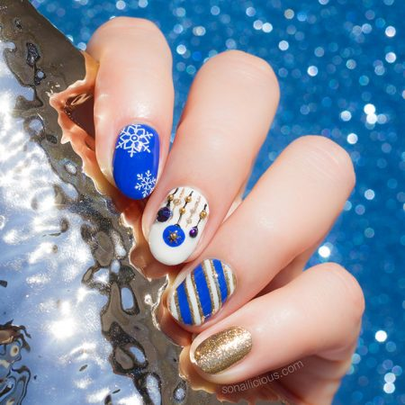 blue and gold holiday nails