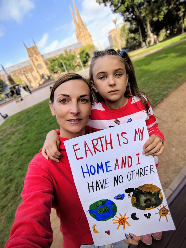 at climate strike in Sydney, 1