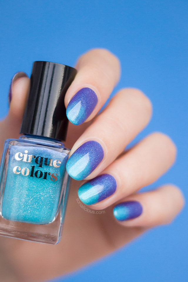 cirque colors Luna review swatches, blue thermal nail polish
