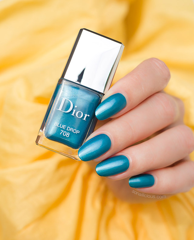 Dior 708 Blue Drop nail polish swatches