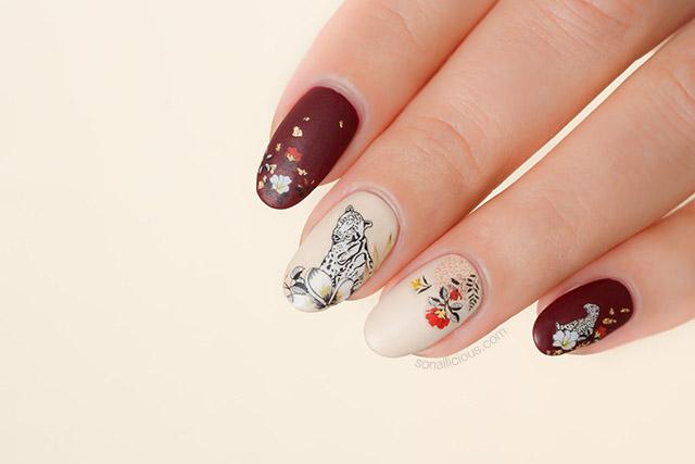 floral leopard nails