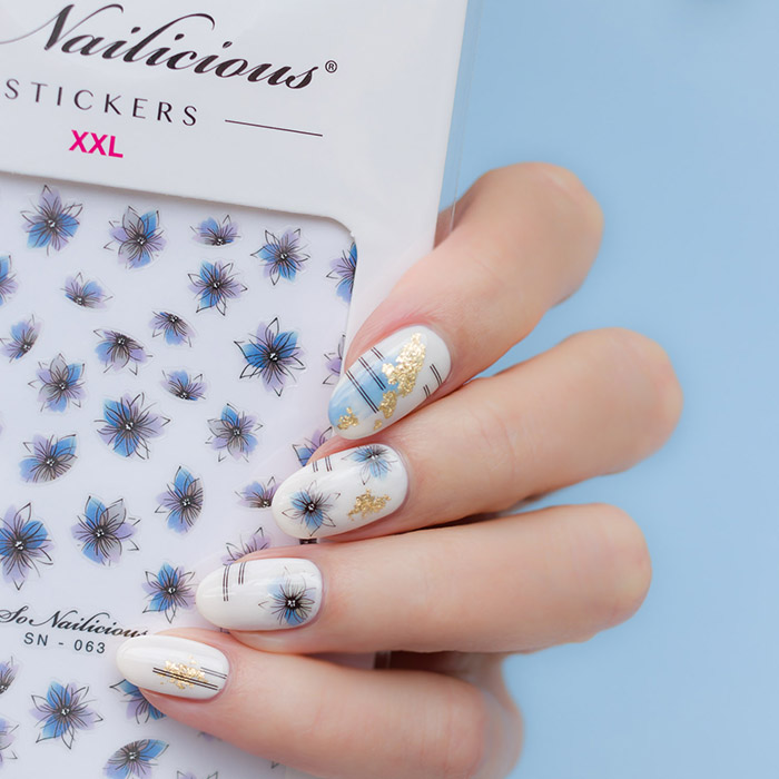 blue and white nails with sonailicious stickers, snb