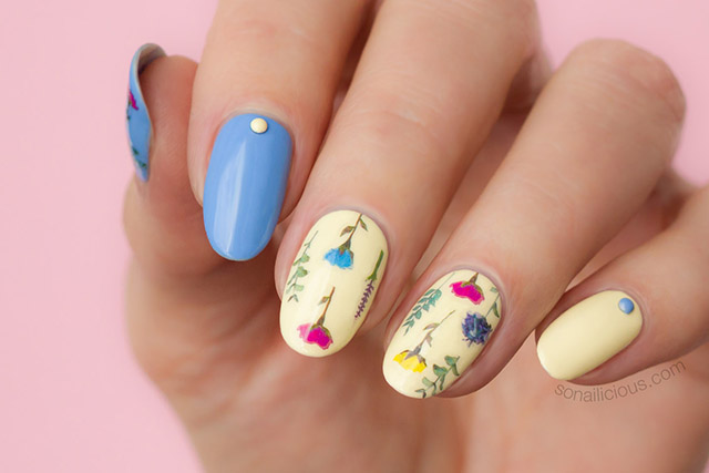 floral nail art with sonailicious floral stickers, 10
