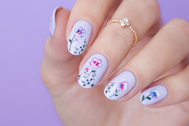 floral stickers, purple pansy nails with