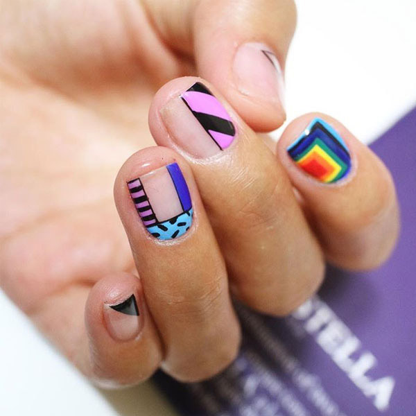 Rainbow abstract nails