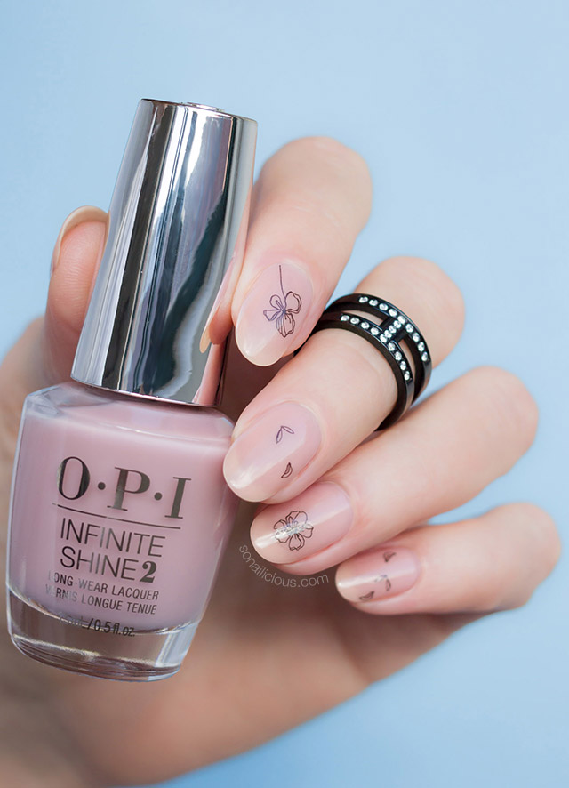 minimalist nail art with OPI bare my soul