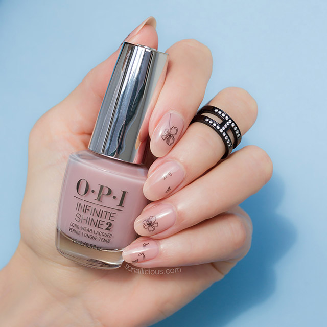 minimalist nails with OPI bare my soul