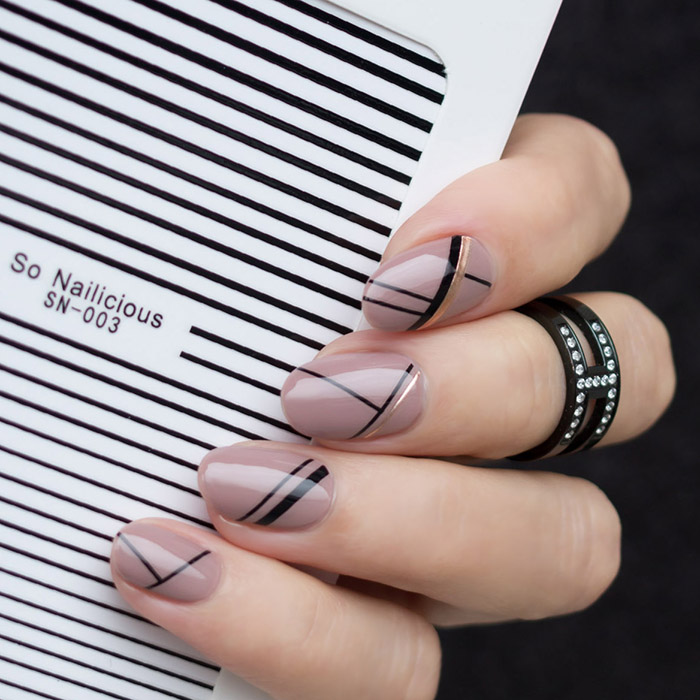 stripe nails with sonailicious stripe stickers, sn