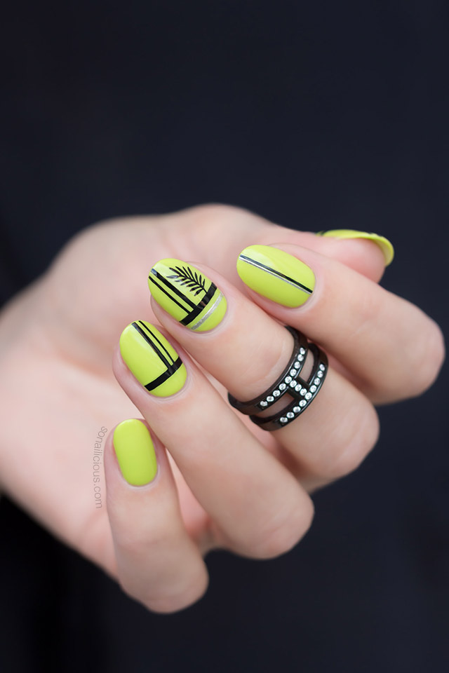 green and black halloween nails with sonailicious stickers