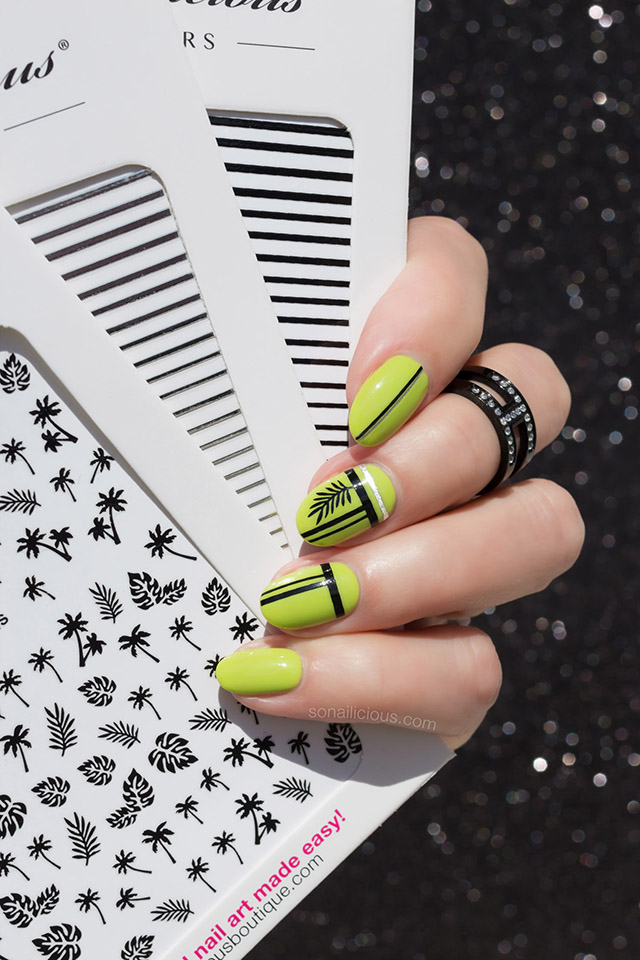 green and black nails with sonailicious stickers