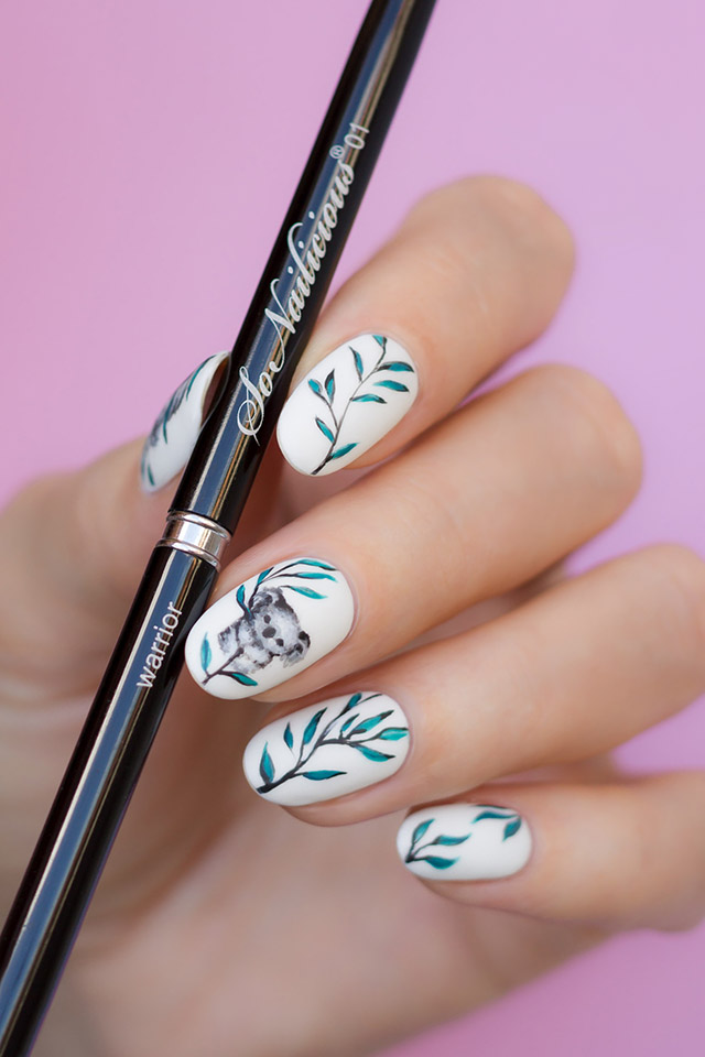 koala nails with warrior nail art brush, 1