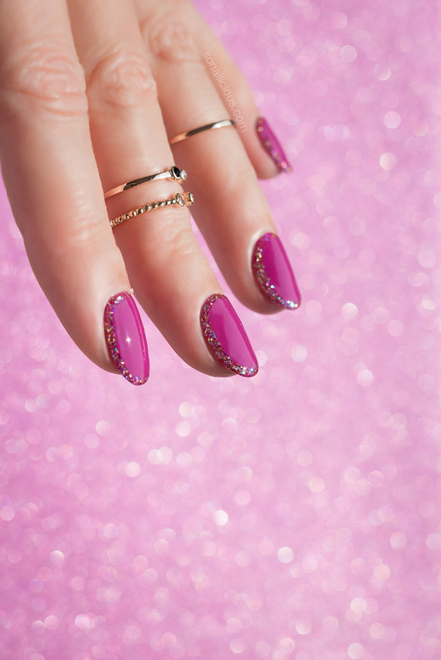 festive nails with glitter