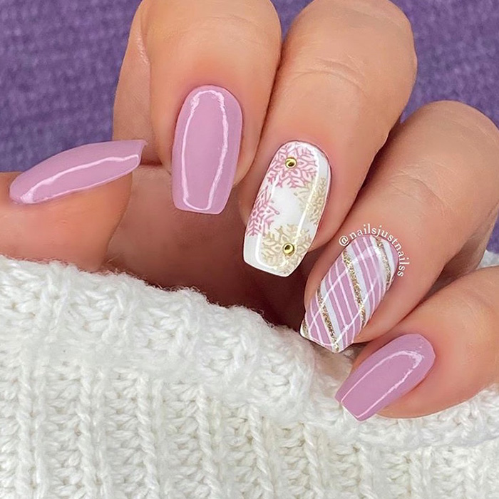pink and gold Christmas nails