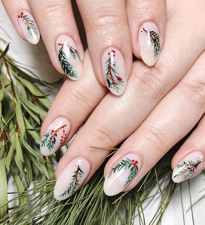 winter foliage christmas nail art