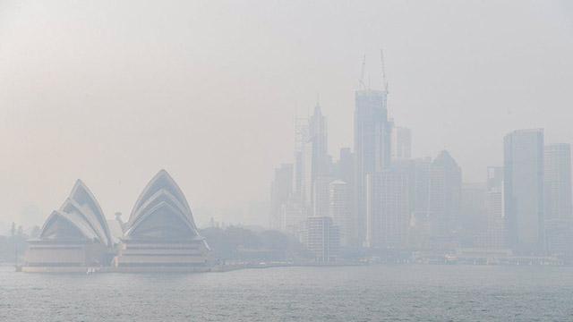 sydney covered by thick smog australian bushfires