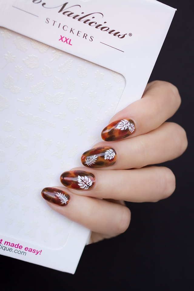 Tortoise shell nails with SoNailicious stickers, 1